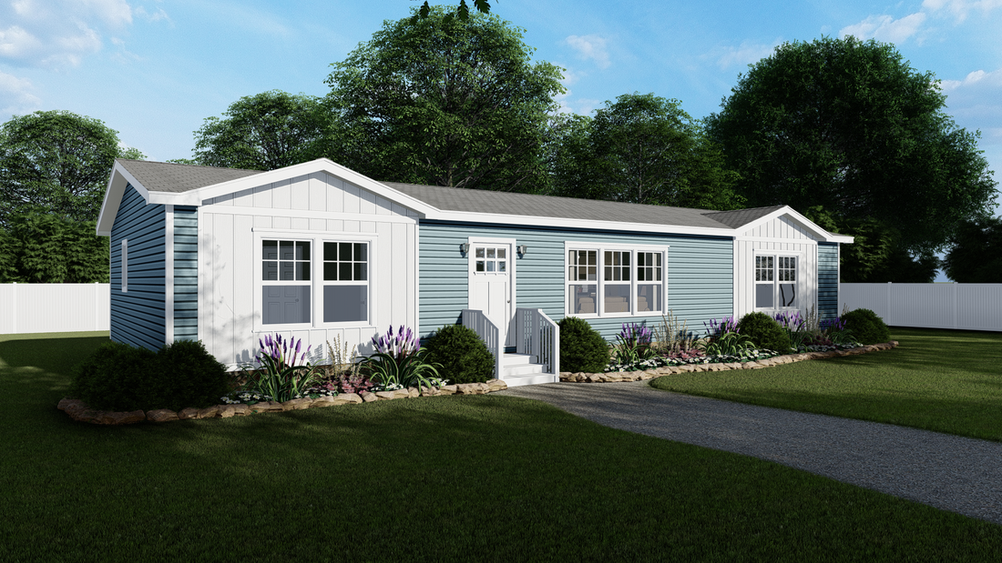 The 7030 HIGH ROCK 6028 Exterior. This Manufactured Mobile Home features 3 bedrooms and 2 baths.